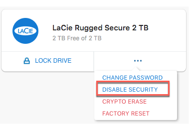 LaCie Rugged Secure User Manual - Manage Security
