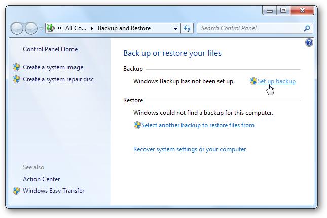 Cloudbox - Backing up using Windows 7 Backup and Restore